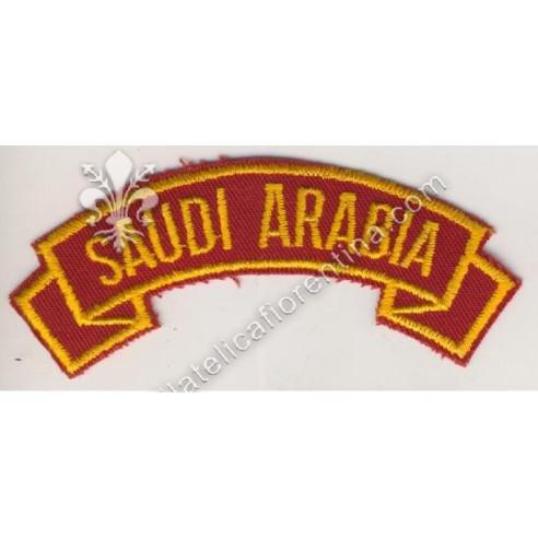 """""""Saudi Arabia"""" giallo su rosso scuro"""