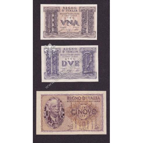 REGNO D'ITALIA Set 3 Banconote...